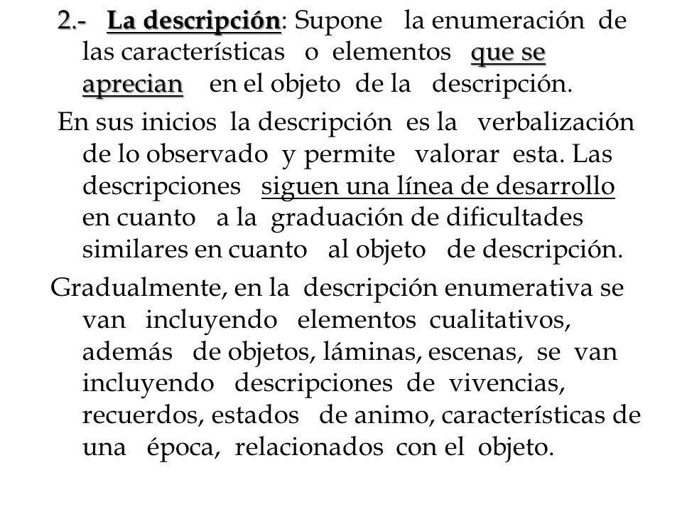 2.- La descripción que se aprecian 2.- La descripción : Supone la enumeración de las características o elementos que se aprecian en el objeto de la de