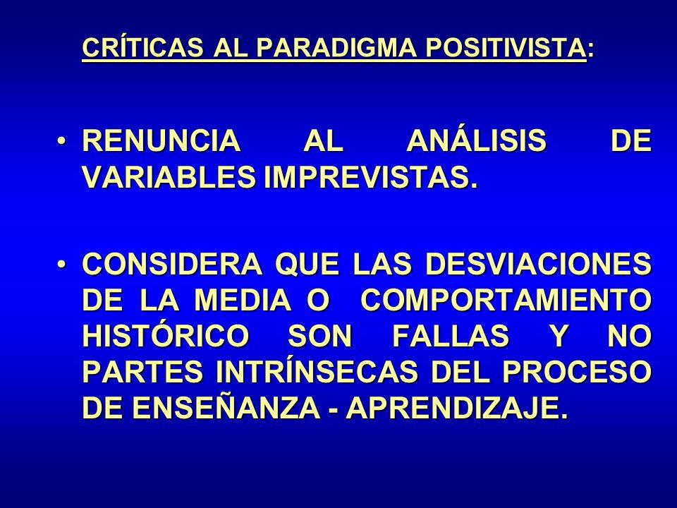 CRÍTICAS AL PARADIGMA POSITIVISTA: RENUNCIA AL ANÁLISIS DE VARIABLES IMPREVISTAS.RENUNCIA AL ANÁLISIS DE VARIABLES IMPREVISTAS. CONSIDERA QUE LAS DESV
