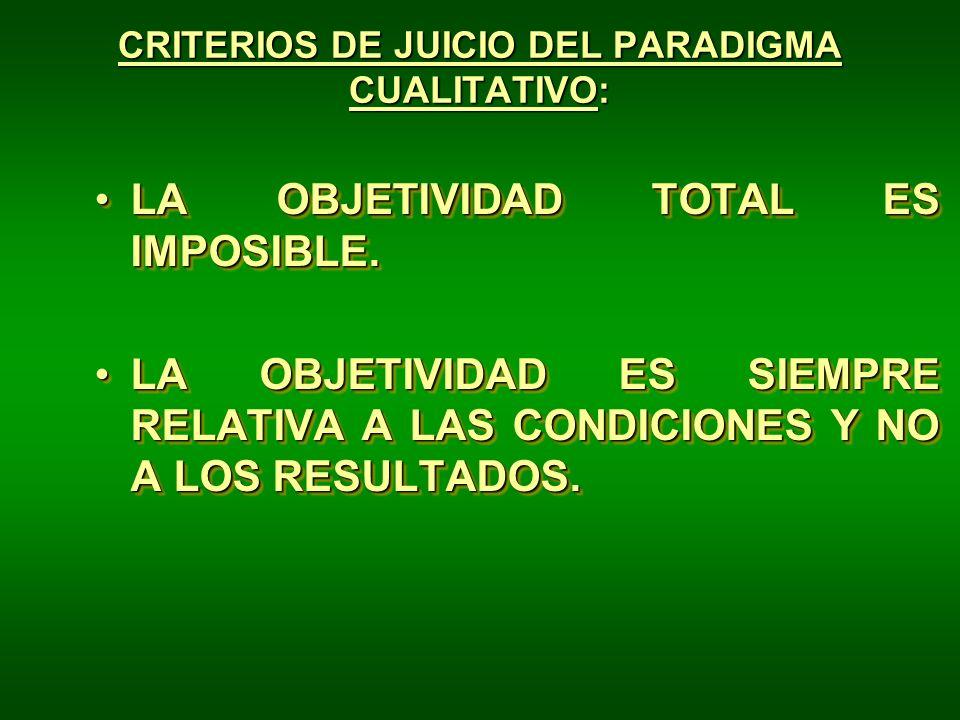 CRITERIOS DE JUICIO DEL PARADIGMA CUALITATIVO: LA OBJETIVIDAD TOTAL ES IMPOSIBLE.LA OBJETIVIDAD TOTAL ES IMPOSIBLE. LA OBJETIVIDAD ES SIEMPRE RELATIVA
