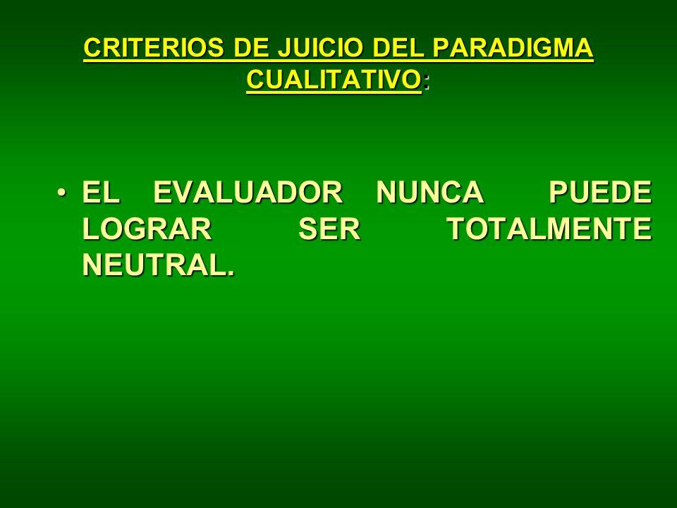 CRITERIOS DE JUICIO DEL PARADIGMA CUALITATIVO: EL EVALUADOR NUNCA PUEDE LOGRAR SER TOTALMENTE NEUTRAL.EL EVALUADOR NUNCA PUEDE LOGRAR SER TOTALMENTE N