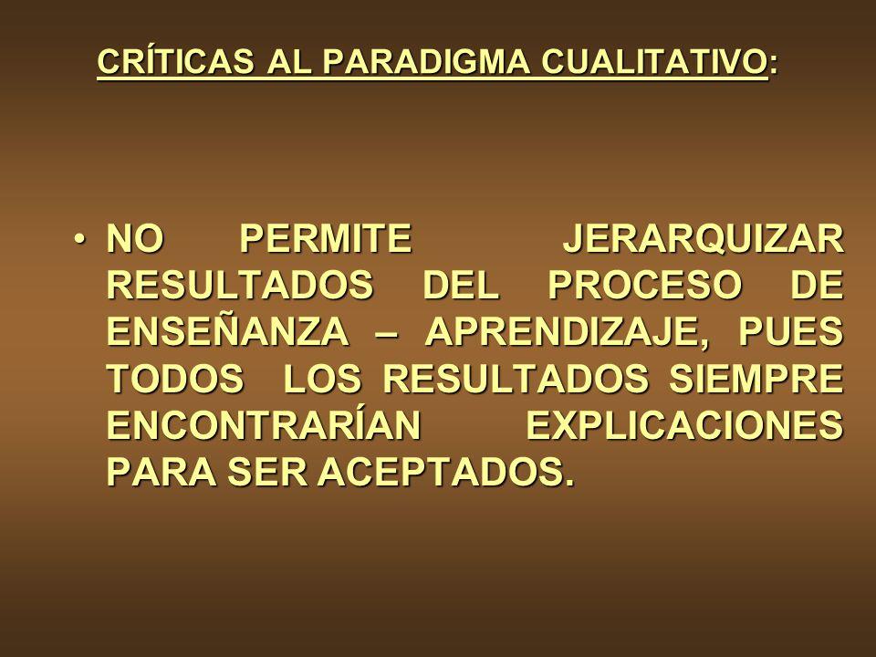 CRÍTICAS AL PARADIGMA CUALITATIVO: NO PERMITE JERARQUIZAR RESULTADOS DEL PROCESO DE ENSEÑANZA – APRENDIZAJE, PUES TODOS LOS RESULTADOS SIEMPRE ENCONTR