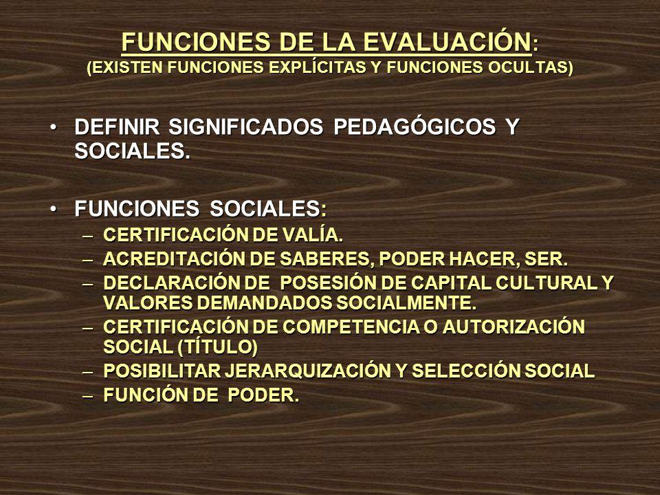 FUNCIONES DE LA EVALUACIÓN : (EXISTEN FUNCIONES EXPLÍCITAS Y FUNCIONES OCULTAS) DEFINIR SIGNIFICADOS PEDAGÓGICOS Y SOCIALES.DEFINIR SIGNIFICADOS PEDAG