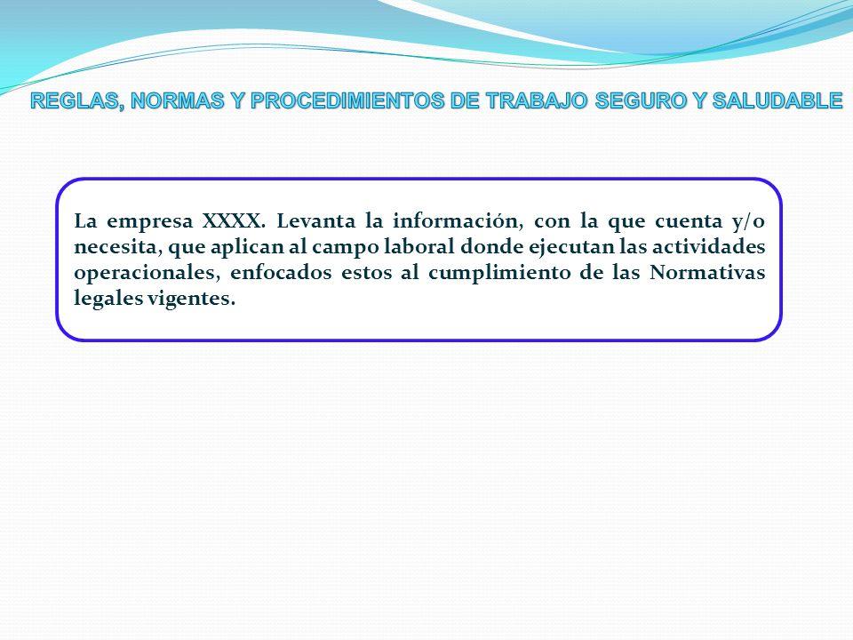 La empresa XXXX. Levanta la información, con la que cuenta y/o necesita, que aplican al campo laboral donde ejecutan las actividades operacionales, en