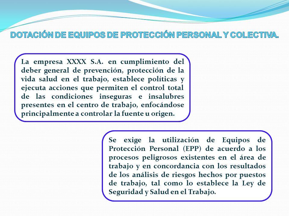 La empresa XXXX S.A. en cumplimiento del deber general de prevención, protección de la vida salud en el trabajo, establece políticas y ejecuta accione