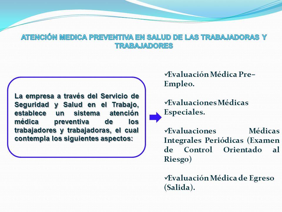Evaluación Médica Pre– Empleo. Evaluaciones Médicas Especiales. Evaluaciones Médicas Integrales Periódicas (Examen de Control Orientado al Riesgo) Eva