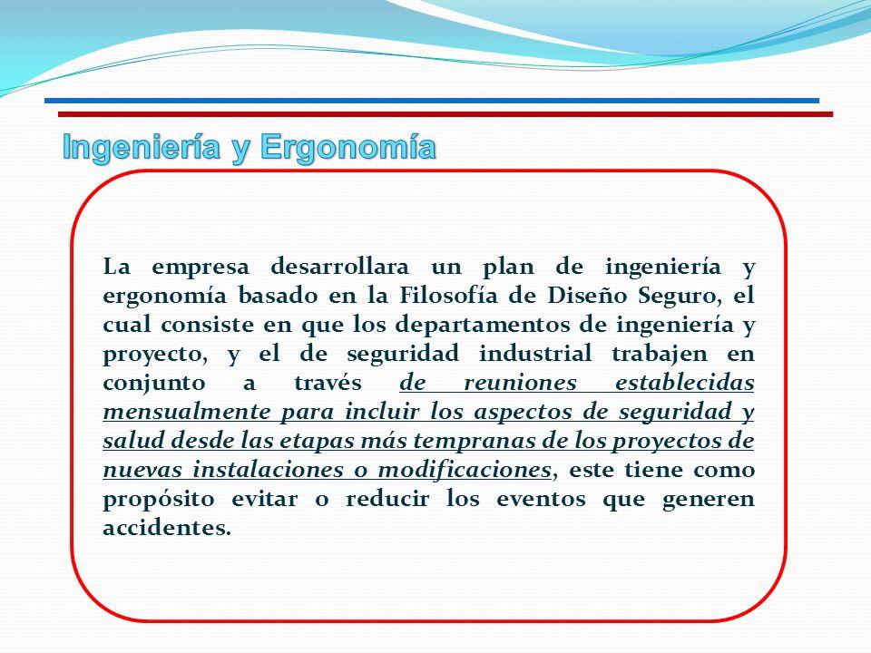 La empresa desarrollara un plan de ingeniería y ergonomía basado en la Filosofía de Diseño Seguro, el cual consiste en que los departamentos de ingeni