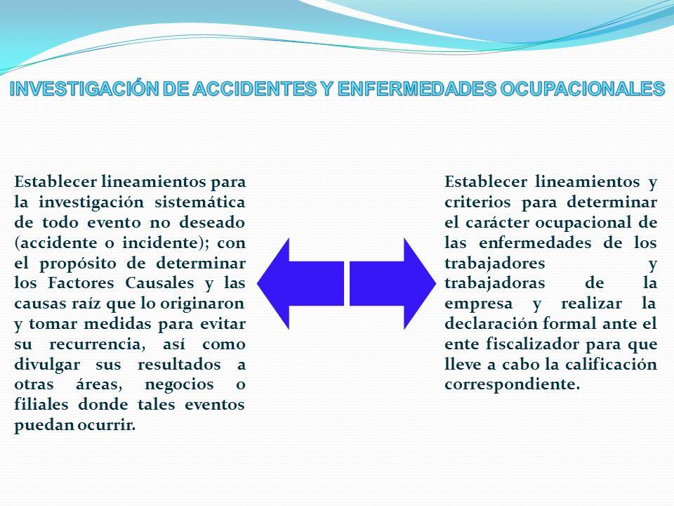 Establecer lineamientos para la investigación sistemática de todo evento no deseado (accidente o incidente); con el propósito de determinar los Factor