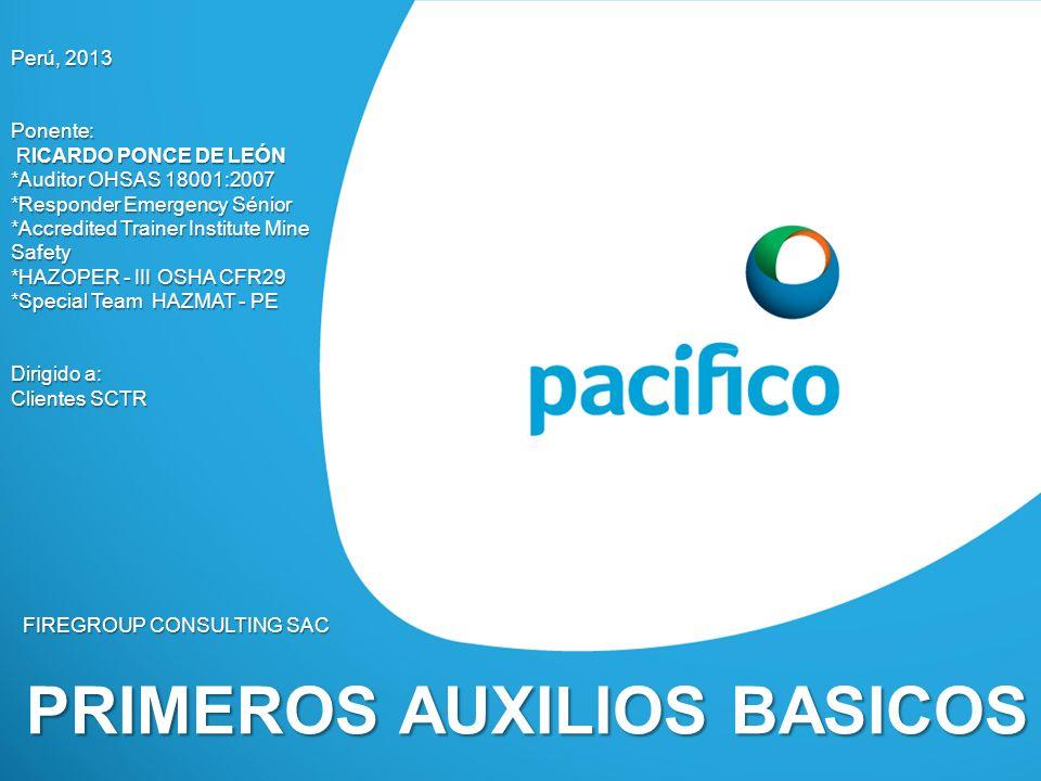 PRIMEROS AUXILIOS BASICOS FIREGROUP CONSULTING SAC Perú, 2013 Ponente: RICARDO PONCE DE LEÓN RICARDO PONCE DE LEÓN *Auditor OHSAS 18001:2007 *Responde