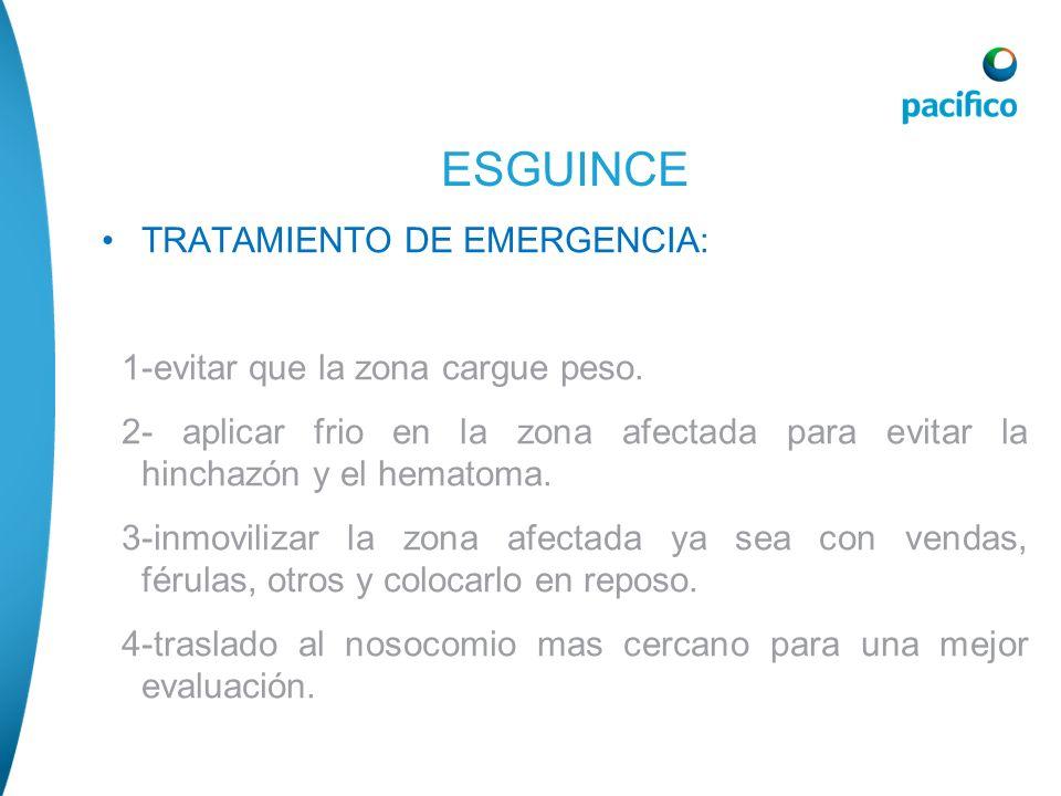 TRATAMIENTO DE EMERGENCIA: 1-evitar que la zona cargue peso. 2- aplicar frio en la zona afectada para evitar la hinchazón y el hematoma. 3-inmovilizar
