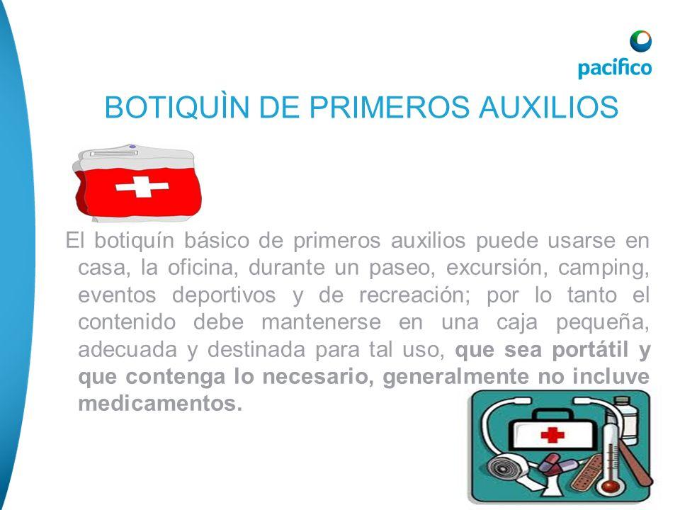 El botiquín básico de primeros auxilios puede usarse en casa, la oficina, durante un paseo, excursión, camping, eventos deportivos y de recreación; po