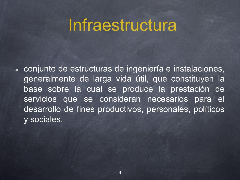 Infraestructura conjunto de estructuras de ingeniería e instalaciones, generalmente de larga vida útil, que constituyen la base sobre la cual se produ