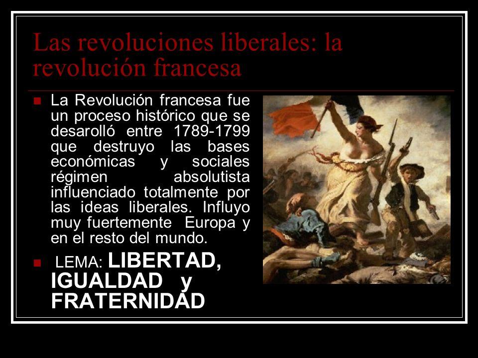 Las revoluciones liberales: la revolución francesa La Revolución francesa fue un proceso histórico que se desarolló entre 1789-1799 que destruyo las b