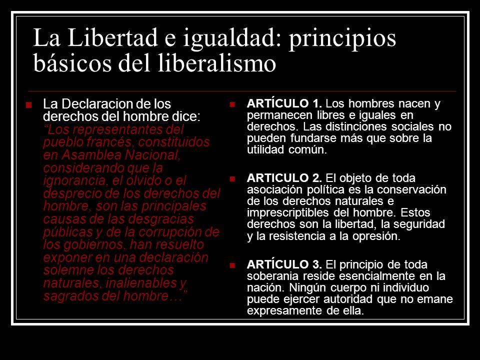 La Libertad e igualdad: principios básicos del liberalismo La Declaracion de los derechos del hombre dice:Los representantes del pueblo francés, const