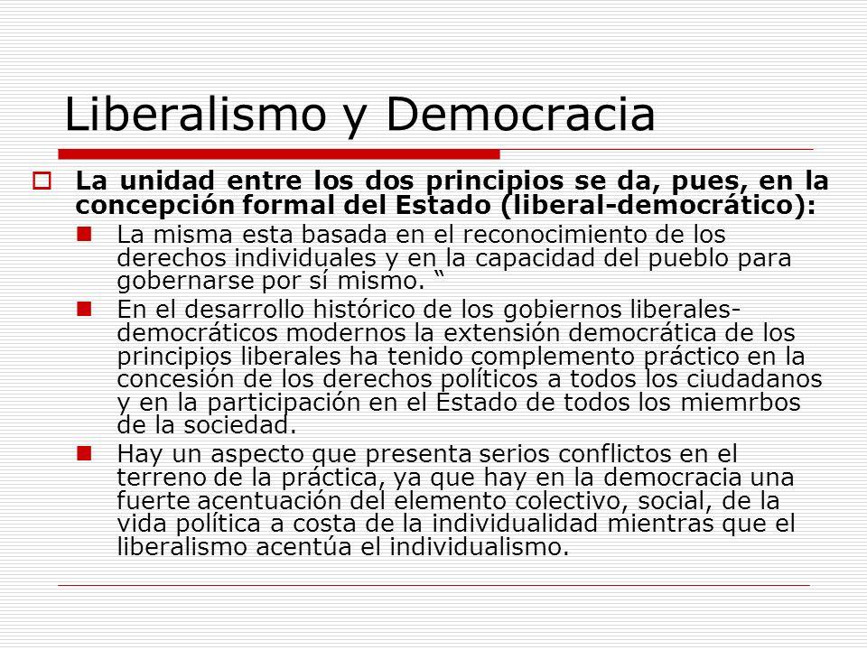 Liberalismo y Democracia La unidad entre los dos principios se da, pues, en la concepción formal del Estado (liberal-democrático): La misma esta basad