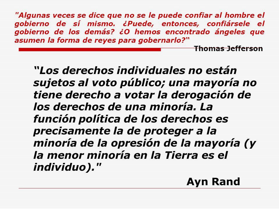 Los derechos individuales no están sujetos al voto público; una mayoría no tiene derecho a votar la derogación de los derechos de una minoría. La func