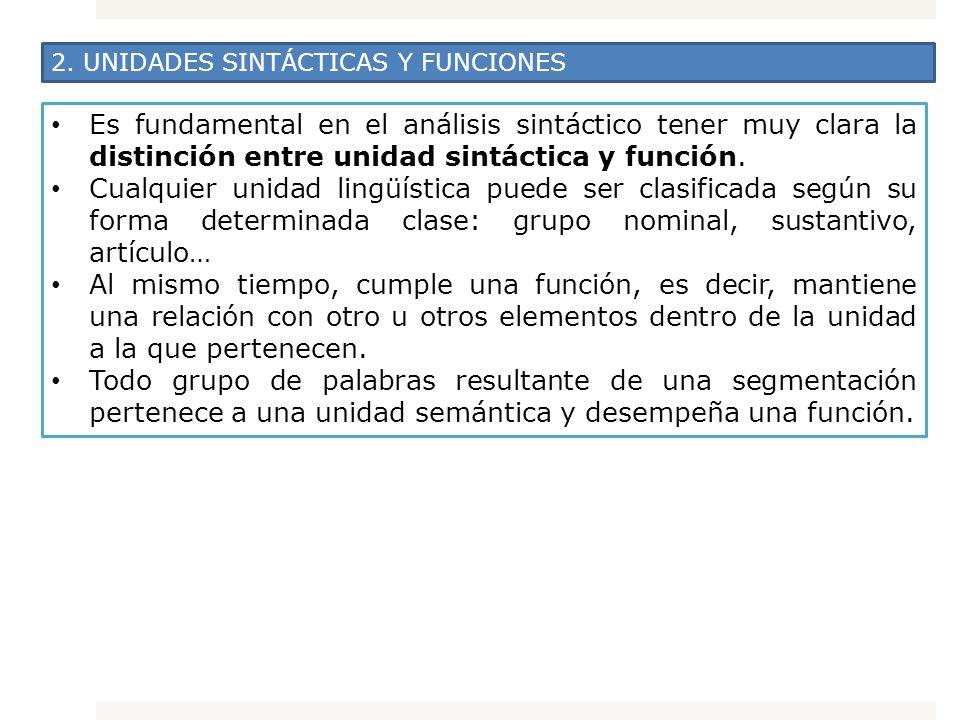 2. UNIDADES SINTÁCTICAS Y FUNCIONES Es fundamental en el análisis sintáctico tener muy clara la distinción entre unidad sintáctica y función. Cualquie