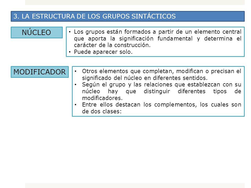 3. LA ESTRUCTURA DE LOS GRUPOS SINTÁCTICOS NÚCLEO Los grupos están formados a partir de un elemento central que aporta la significación fundamental y