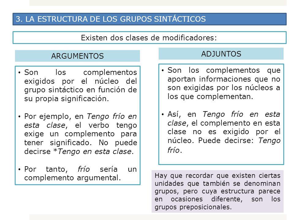 3. LA ESTRUCTURA DE LOS GRUPOS SINTÁCTICOS Existen dos clases de modificadores: ARGUMENTOS Son los complementos exigidos por el núcleo del grupo sintá