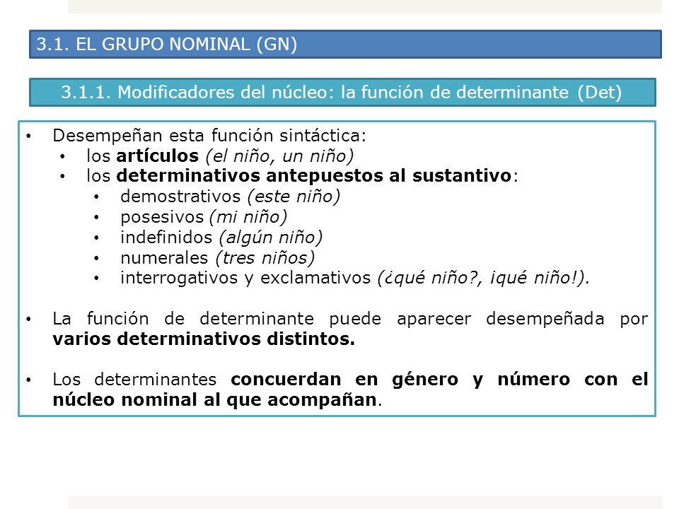 3.1. EL GRUPO NOMINAL (GN) Desempeñan esta función sintáctica: los artículos (el niño, un niño) los determinativos antepuestos al sustantivo: demostra