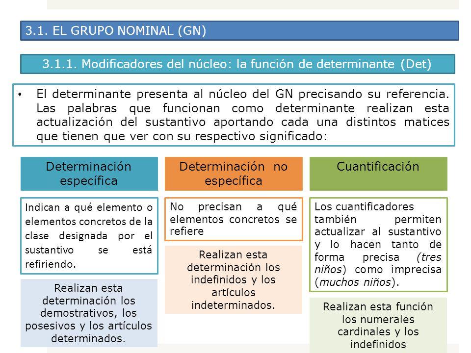 3.1. EL GRUPO NOMINAL (GN) El determinante presenta al núcleo del GN precisando su referencia. Las palabras que funcionan como determinante realizan e
