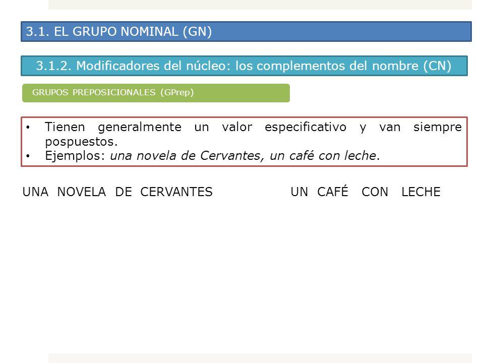3.1. EL GRUPO NOMINAL (GN) 3.1.2. Modificadores del núcleo: los complementos del nombre (CN) Tienen generalmente un valor especificativo y van siempre