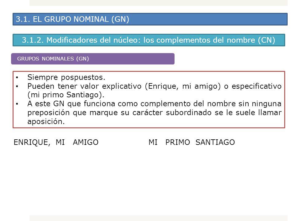 3.1. EL GRUPO NOMINAL (GN) 3.1.2. Modificadores del núcleo: los complementos del nombre (CN) Siempre pospuestos. Pueden tener valor explicativo (Enriq