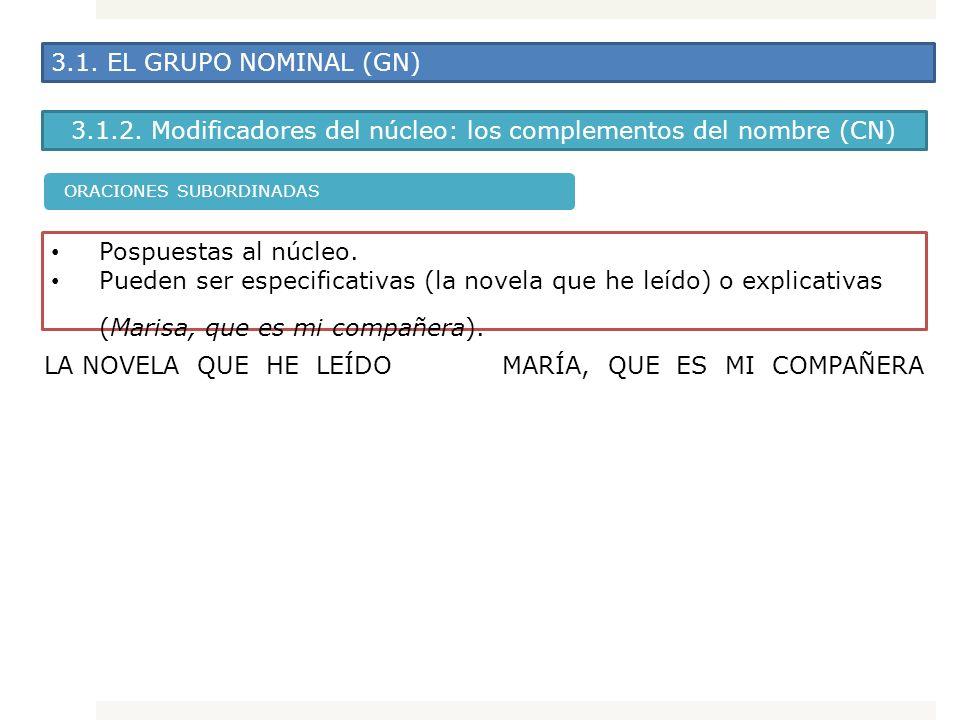 3.1. EL GRUPO NOMINAL (GN) 3.1.2. Modificadores del núcleo: los complementos del nombre (CN) Pospuestas al núcleo. Pueden ser especificativas (la nove