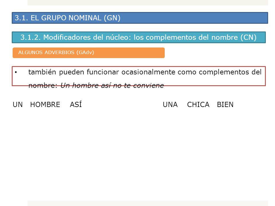 3.1. EL GRUPO NOMINAL (GN) 3.1.2. Modificadores del núcleo: los complementos del nombre (CN) también pueden funcionar ocasionalmente como complementos