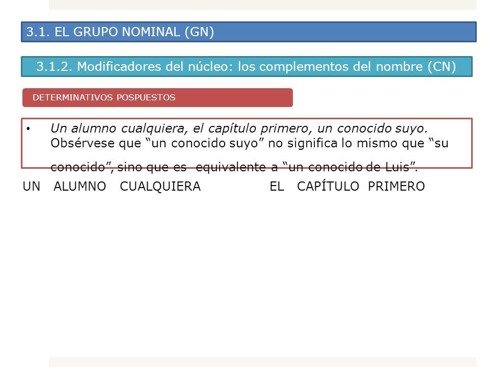 3.1. EL GRUPO NOMINAL (GN) 3.1.2. Modificadores del núcleo: los complementos del nombre (CN) Un alumno cualquiera, el capítulo primero, un conocido su