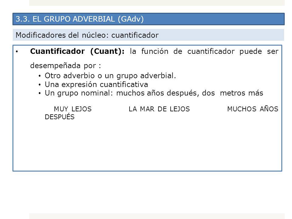 3.3. EL GRUPO ADVERBIAL (GAdv) Modificadores del núcleo: cuantificador Cuantificador (Cuant): la función de cuantificador puede ser desempeñada por :