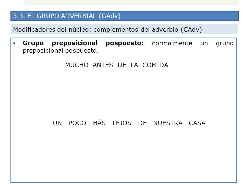 3.3. EL GRUPO ADVERBIAL (GAdv) Modificadores del núcleo: complementos del adverbio (CAdv) Grupo preposicional pospuesto: normalmente un grupo preposic