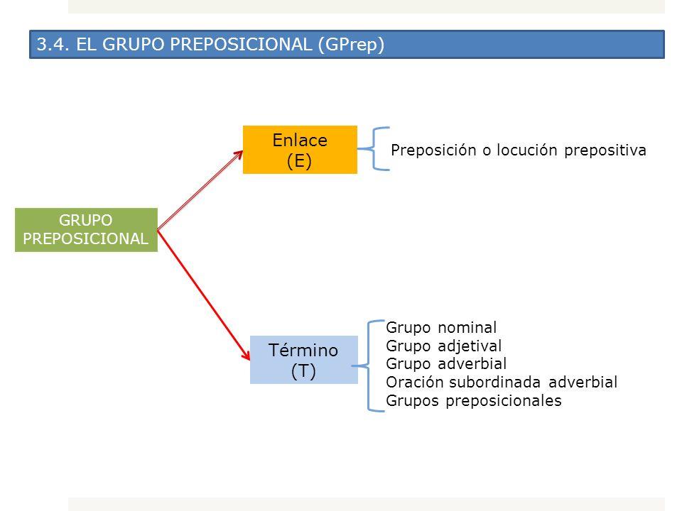 3.4. EL GRUPO PREPOSICIONAL (GPrep) GRUPO PREPOSICIONAL Término (T) Enlace (E) Preposición o locución prepositiva Grupo nominal Grupo adjetival Grupo