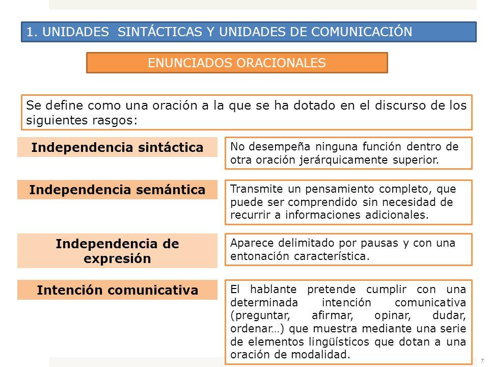 7 1. UNIDADES SINTÁCTICAS Y UNIDADES DE COMUNICACIÓN ENUNCIADOS ORACIONALES Se define como una oración a la que se ha dotado en el discurso de los sig