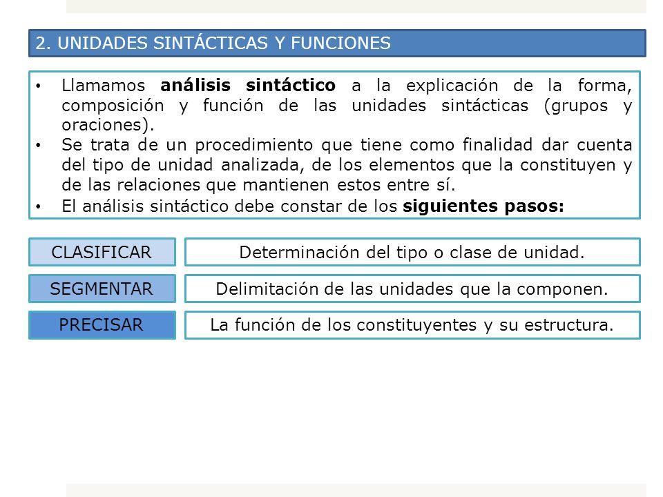2. UNIDADES SINTÁCTICAS Y FUNCIONES Llamamos análisis sintáctico a la explicación de la forma, composición y función de las unidades sintácticas (grup