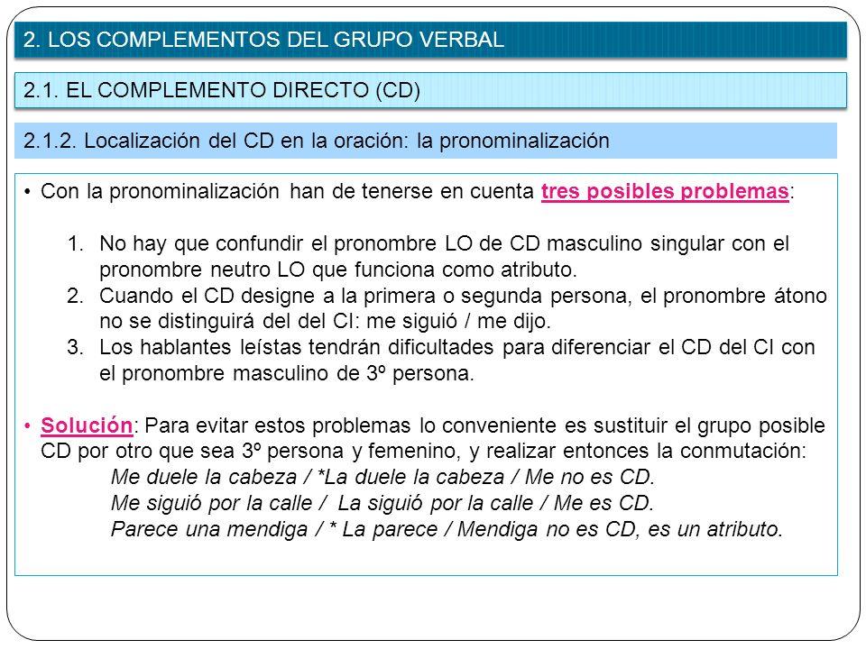 2.1. EL COMPLEMENTO DIRECTO (CD) 2. LOS COMPLEMENTOS DEL GRUPO VERBAL 2.1.2. Localización del CD en la oración: la pronominalización Con la pronominal
