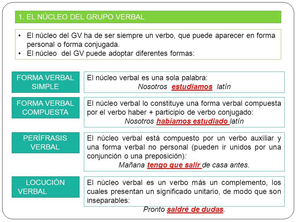 1. EL NÚCLEO DEL GRUPO VERBAL El núcleo del GV ha de ser siempre un verbo, que puede aparecer en forma personal o forma conjugada. El núcleo del GV pu