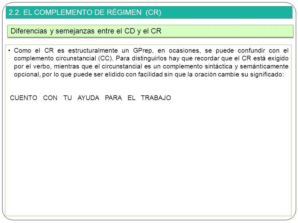 2.2. EL COMPLEMENTO DE RÉGIMEN (CR) Como el CR es estructuralmente un GPrep, en ocasiones, se puede confundir con el complemento circunstancial (CC).