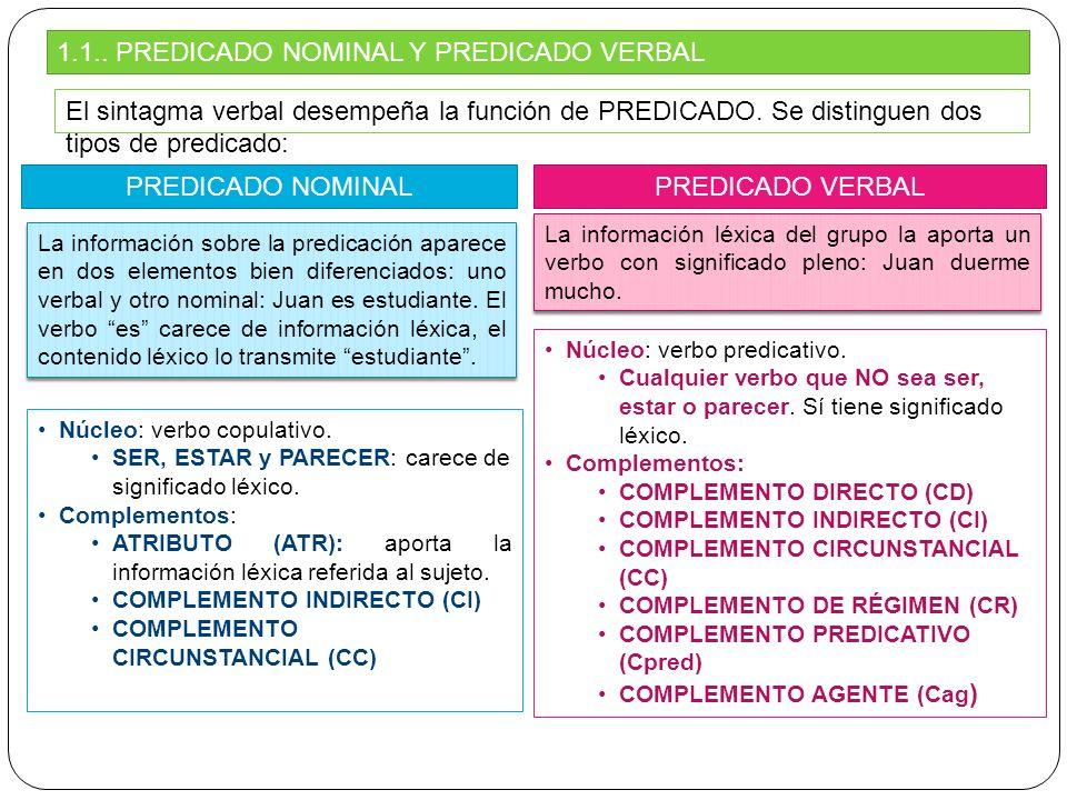1.1.. PREDICADO NOMINAL Y PREDICADO VERBAL El sintagma verbal desempeña la función de PREDICADO. Se distinguen dos tipos de predicado: PREDICADO NOMIN