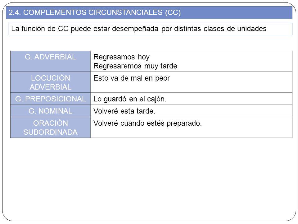 2.4. COMPLEMENTOS CIRCUNSTANCIALES (CC) La función de CC puede estar desempeñada por distintas clases de unidades G. ADVERBIALRegresamos hoy Regresare