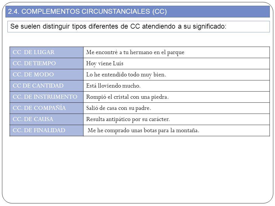 2.4. COMPLEMENTOS CIRCUNSTANCIALES (CC) Se suelen distinguir tipos diferentes de CC atendiendo a su significado: CC DE LUGARMe encontré a tu hermano e