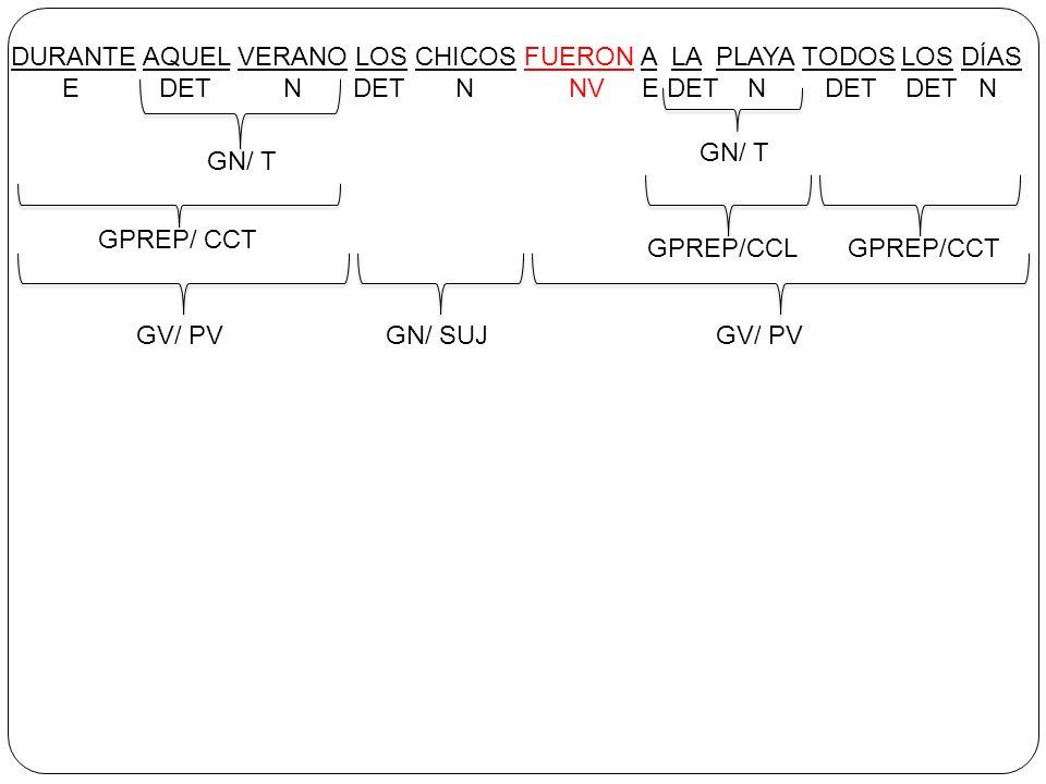 DURANTE AQUEL VERANO LOS CHICOS FUERON A LA PLAYA TODOS LOS DÍAS E DET N DET N NV E DET N DET DET N GN/ T GPREP/ CCT GV/ PVGN/ SUJ GV/ PV GN/ T GPREP/