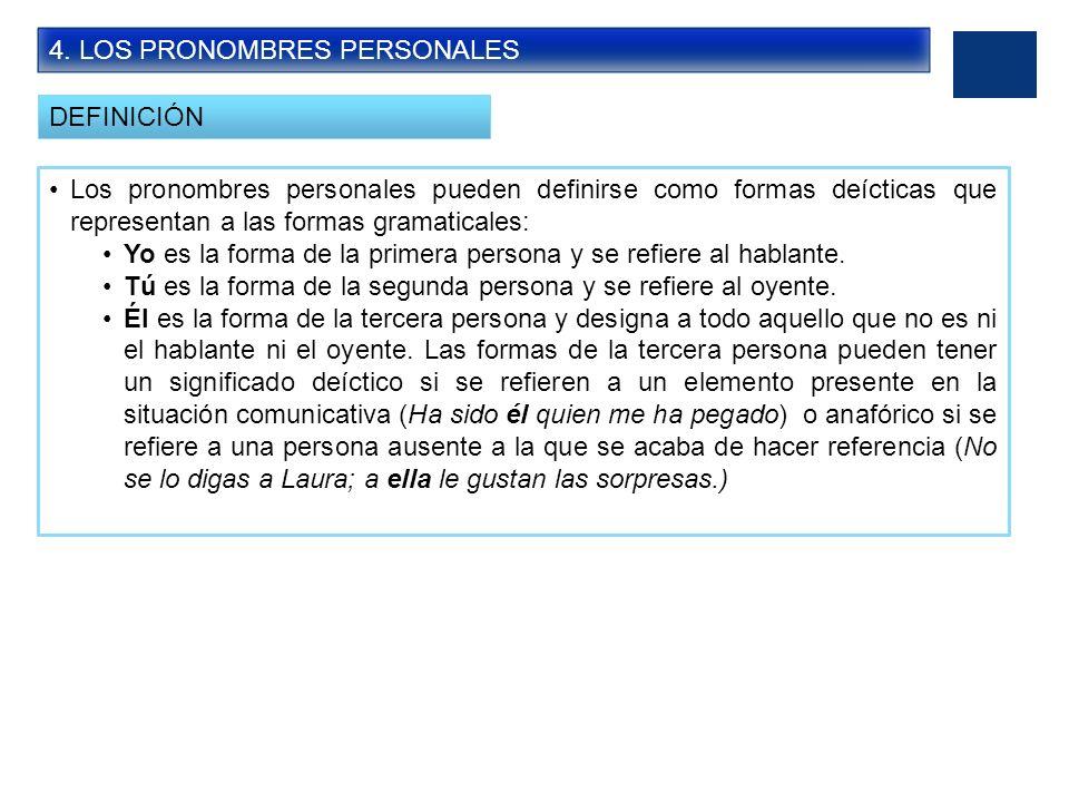 4. LOS PRONOMBRES PERSONALES DEFINICIÓN Los pronombres personales pueden definirse como formas deícticas que representan a las formas gramaticales: Yo