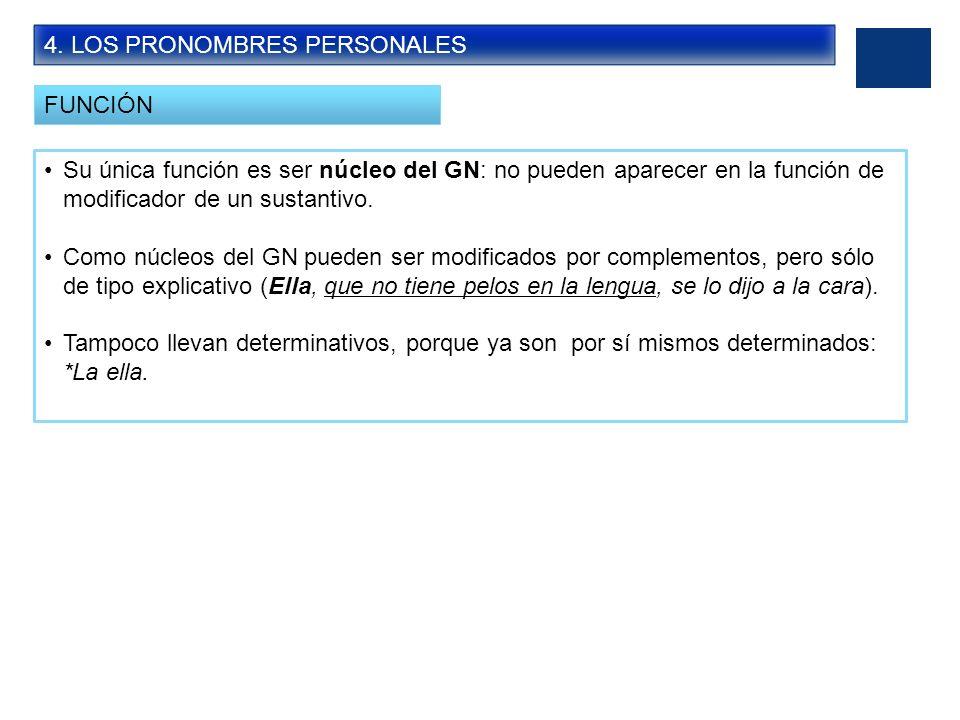 4. LOS PRONOMBRES PERSONALES FUNCIÓN Su única función es ser núcleo del GN: no pueden aparecer en la función de modificador de un sustantivo. Como núc