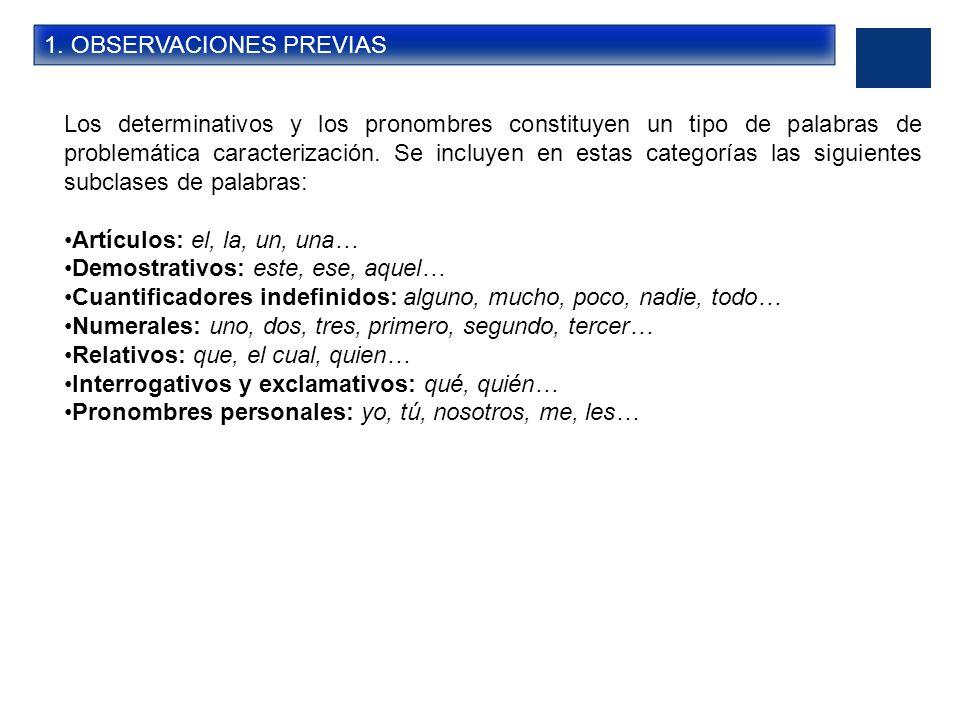 1. OBSERVACIONES PREVIAS Los determinativos y los pronombres constituyen un tipo de palabras de problemática caracterización. Se incluyen en estas cat