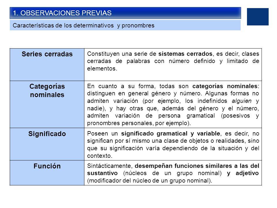 1. OBSERVACIONES PREVIAS Características de los determinativos y pronombres Series cerradas Constituyen una serie de sistemas cerrados, es decir, clas