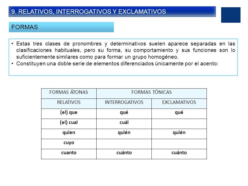 9. RELATIVOS, INTERROGATIVOS Y EXCLAMATIVOS FORMAS Estas tres clases de pronombres y determinativos suelen aparece separadas en las clasificaciones ha