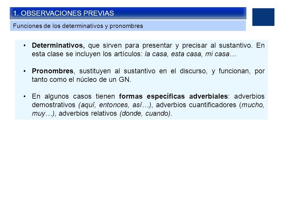 1. OBSERVACIONES PREVIAS Funciones de los determinativos y pronombres Determinativos, que sirven para presentar y precisar al sustantivo. En esta clas