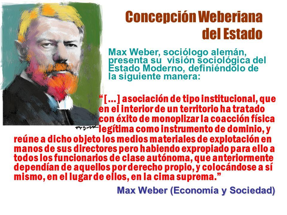 Concepción Weberiana del Estado reúne a dicho objeto los medios materiales de explotación en manos de sus directores pero habiendo expropiado para ell