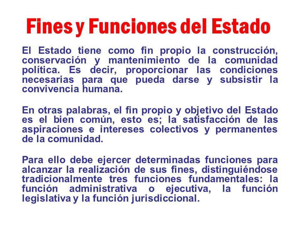 Fines y Funciones del Estado El Estado tiene como fin propio la construcción, conservación y mantenimiento de la comunidad política. Es decir, proporc