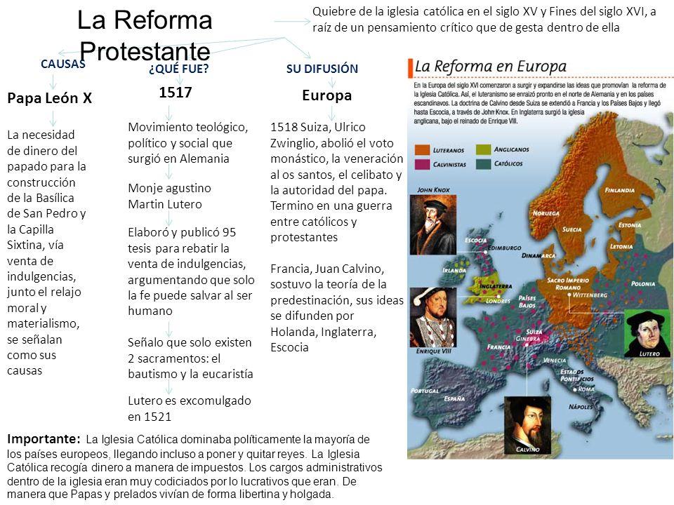 CAUSAS 1517 ¿QUÉ FUE? Movimiento teológico, político y social que surgió en Alemania 1518 Suiza, Ulrico Zwinglio, abolió el voto monástico, la venerac